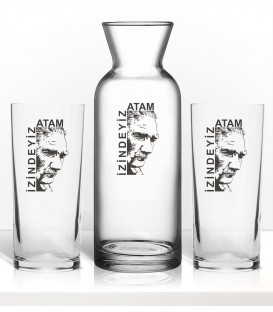 Atatürk İzindeyiz Renkli Baskılı Rakı Kadehi Karaf Set