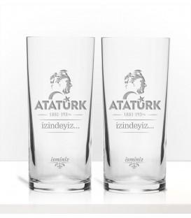 Atatürk Laser İşleme İkili Rakı Kadehi