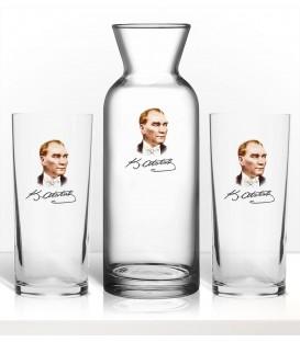 Atatürk Renkli Baskılı Rakı Bardağı Karaf Seti